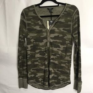 Lucky Brand Camouflage Long Sleeve Henley Top